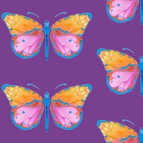 Large butterflies, colourful on purple || upholstery, bed sheet pillow curtains table cloth fancy