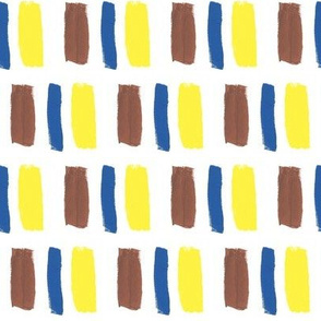 Broad Brush Strokes in Blue, Brown and Yellow