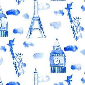 City London New York Paris Indigo Blue White Watercolor Cloud Cities_Miss Chiff Designs