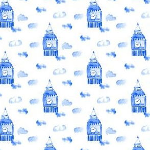 London City England Indigo Blue Boho Watercolor_Miss Chiff Designs