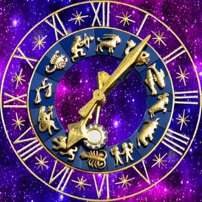 1 clocks time stars universe purple galaxy zodiac Horoscope Aries Taurus Gemini Cancer Leo Virgo Libra Scorpio Sagittarius Capricorn Aquarius Pisces astrology gold violet roman numerals cosmic cosmos planets galaxies nebulae night quasars lobsters twins c
