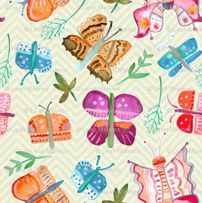 Watercolor Butterflies on yellow