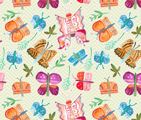Watercolor Butterflies on yellow fabric by pixabo on Spoonflower - custom fabric