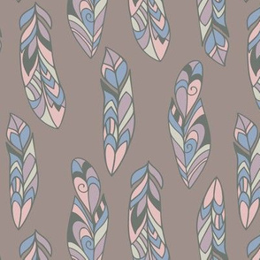 Bohemian style feather pattern