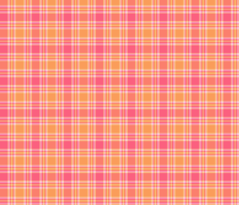 pink and orange plaid fabric by wagonwheel on Spoonflower - custom fabric