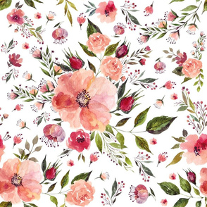 """18"""" Floral Rhapsody / White"""