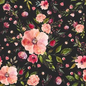 "18"" Floral Rhapsody / Charcoal Black"