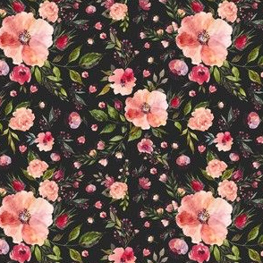 "4"" Floral Rhapsody / Charcoal Black"