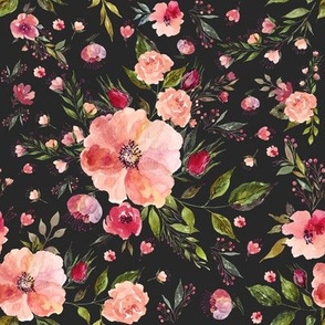 "8"" Floral Rhapsody / Charcoal Black"