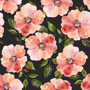 "18"" Floral Peach Rhapsody / Charcoal Black"