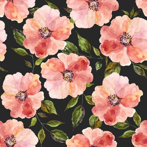 "10.5"" Floral Peach Rhapsody / Charcoal Black"