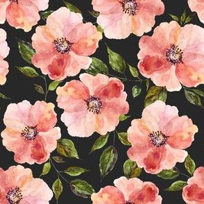 "7"" Floral Peach Rhapsody / Charcoal Black"