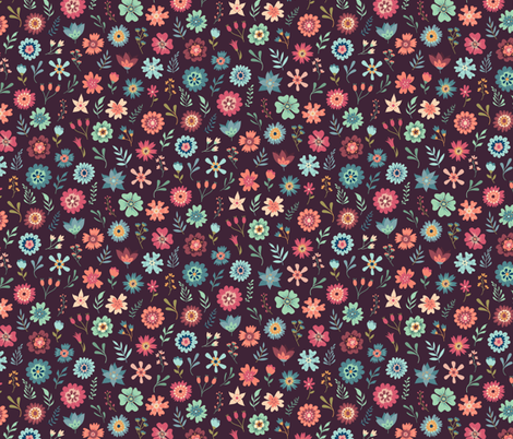 Vintage Floral Scatter - Maroon fabric by samalah on Spoonflower - custom fabric