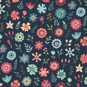 Vintage Floral Scatter - Navy