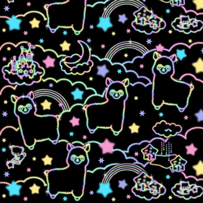 14 alpaca llamas stars rainbows clouds trees ponds lakes teddy bears shooting cats sky skies night sanrio inspired little twin stars moon castles fairy kei elegant gothic lolita egl pastel neon glowing sparkles sparkling silhouette outlines colorful