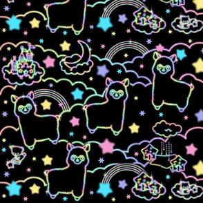 14 alpaca llamas stars rainbows clouds trees ponds lakes teddy bears shooting cats sky skies night kawaii japanese inspired moon castles fairy kei elegant gothic lolita egl pastel neon glowing sparkles sparkling silhouette outlines colorful