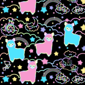 13 alpaca llamas stars rainbows clouds trees ponds lakes teddy bears shooting cats sky skies night kawaii japanese inspired  moon castles fairy kei elegant gothic lolita egl pastel neon glowing sparkles sparkling silhouette outlines colorful