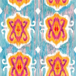 Blue purple and yellow ikat