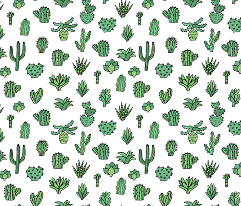 green_sketch_cacti_attern-_Converted_ fabric by kostolom3000 on Spoonflower - custom fabric