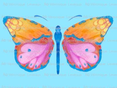 Small butterflies, colourful on light cyan blue || shirt top blouse night gown woman dress fun trendy man men girl kid women