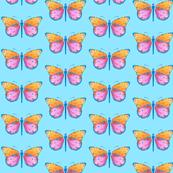 Medium small butterflies, colourful on light cyan blue || shirt top blouse night gown woman dress fun trendy man men girl kid women