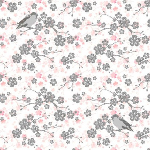 Silver and pink cherry blossom birds