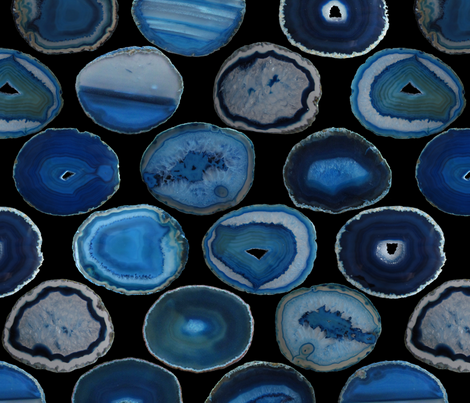 LARGE BLUE BLACK AGATE SLICES fabric by emily_alcorn on Spoonflower - custom fabric