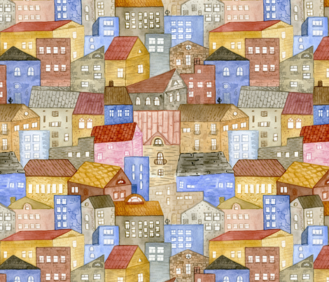 City Suburb fabric by ruthenia on Spoonflower - custom fabric