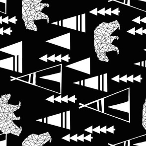 teepee forest fabric // black and white teepee nursery baby black and white bears