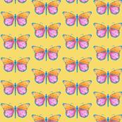 Medium small butterflies, colourful on light mustard yellow || shirt top blouse night gown woman dress fun trendy man men girl kid women