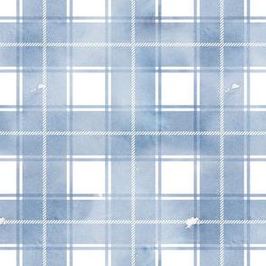Blue watercolor plaid