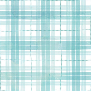 Turquoise watercolor plaid