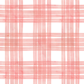 Double line peach pink check