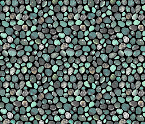 SMALL GREEN BLACK TURQUOISE STONES fabric by emily_alcorn on Spoonflower - custom fabric