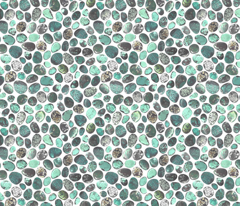 SMALL GREEN WHITE TURQUOISE STONES fabric by emily_alcorn on Spoonflower - custom fabric