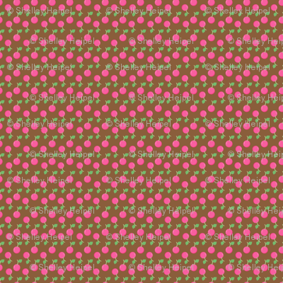 Pink Cherries on Chocolate