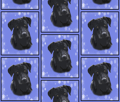 Black Lab Portrait in Blue fabric by dogdaze_ on Spoonflower - custom fabric
