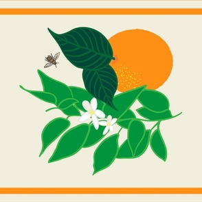 Orange with Leaves and Bee Tea Towel