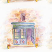 THE OLD STORE DAY WATERCOLOR painting