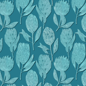 Protea collection on blue