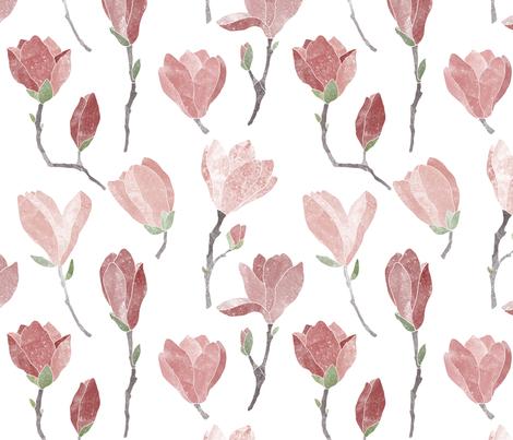 Pink magnolia blooms on white fabric by lavish_season on Spoonflower - custom fabric