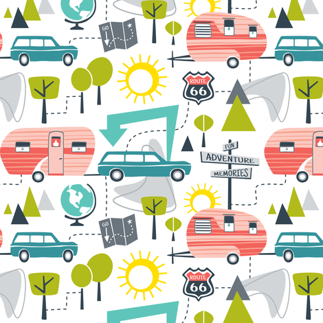 Road Trip - Retro Summer Camping fabric by heatherdutton on Spoonflower - custom fabric