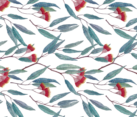 Eucalyptus leaves and flowers on white /90/ fabric by lavish_season on Spoonflower - custom fabric