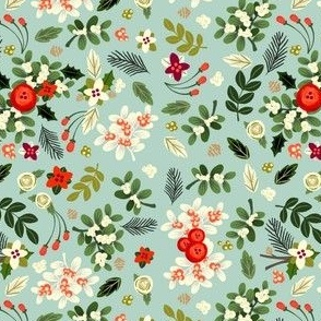 Ditsy Vintage Mistletoe - Tiny