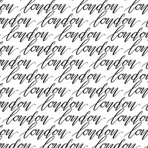 London England Words Calligraphy Black White Font Text_MissChiff Designs