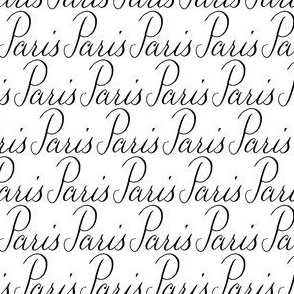 Paris France City Words Calligraphy Text Font Black White_Miss Chiff Designs