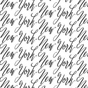 17-01Z New York City Words Text Calligraphy Black White Hand Writing_Miss Chiff Designs