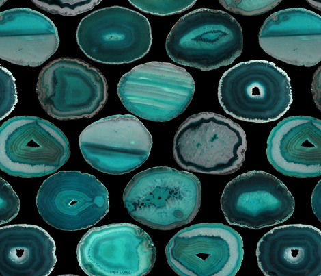 LARGE TEAL BLACK AGATE SLAB  fabric by emily_alcorn on Spoonflower - custom fabric