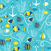 Deep Blue Sea - Nautical Fish Aqua