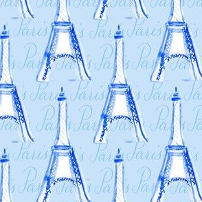 Paris Watercolor Calligraphy France City Home Decor Royal Blue White_miss chiff designs